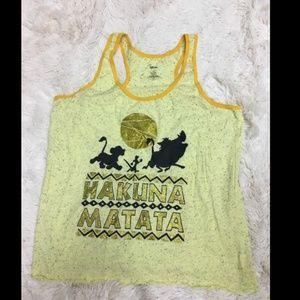 Disney Hakuna Matata Lion King Yellow Tank top